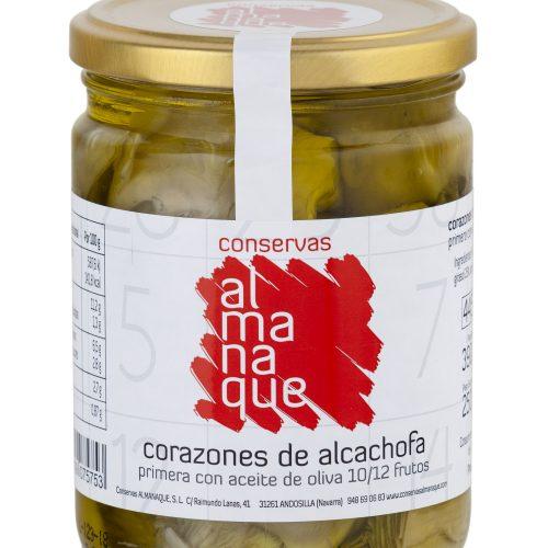 Corazones De Alcachofa Extra Con Aceite De Oliva 10/12 Frutos, Fr.445ml, Conservas Almanaque, Andosilla